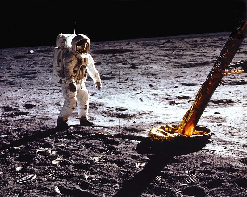 L'astronauta Buzz Aldrin sulla Luna