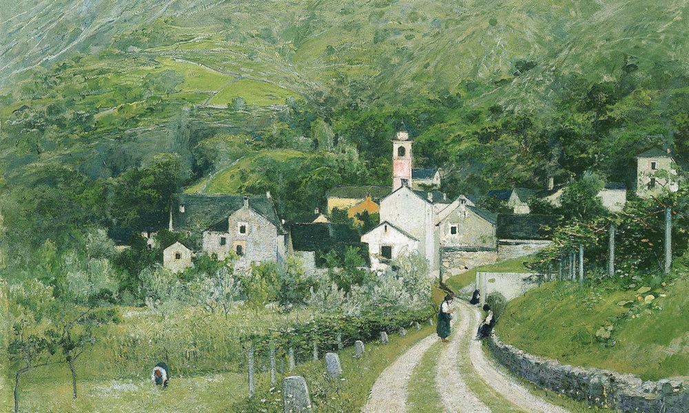 """Filippo Franzoni, """"Sera a Lodano"""", 1885-1890, olio su tela, 85.5 x 120.5 cm"""