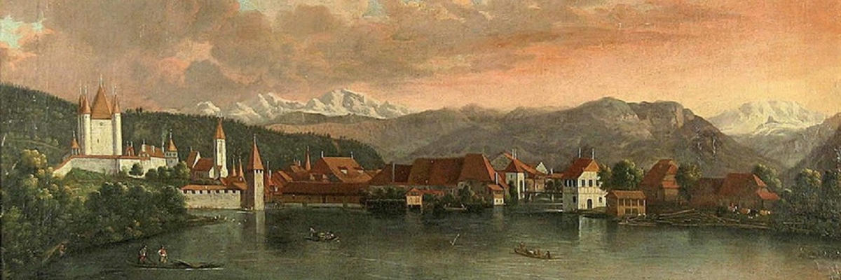 Stampa d'epoca con panorama di Thun