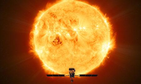 La sonda Solar Orbiter davanti al Sole