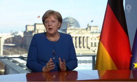 Angela Merkel durante l'appello televisivo del 18 marzo 2020.